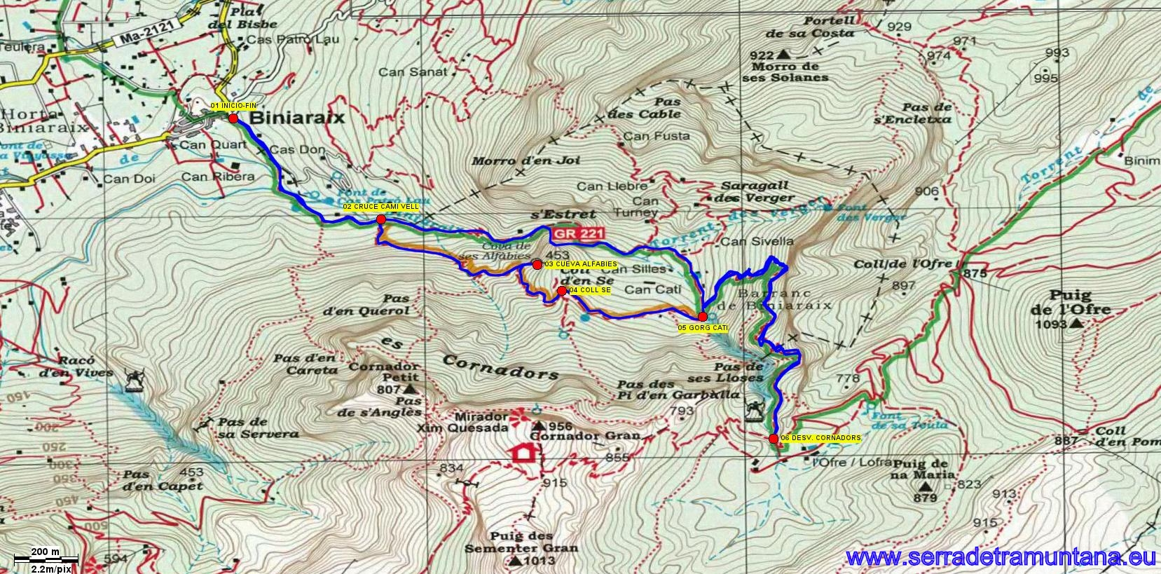 Recorte del mapa de Alpina con la ruta realizada