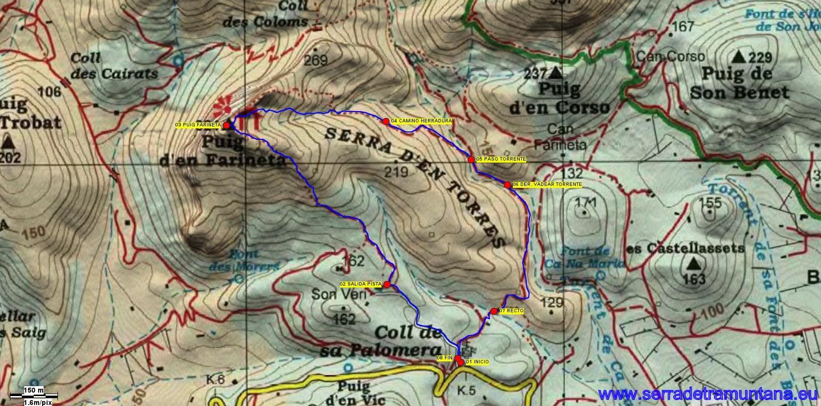 Recorte del mapa de Alpina con el trazado de la ruta