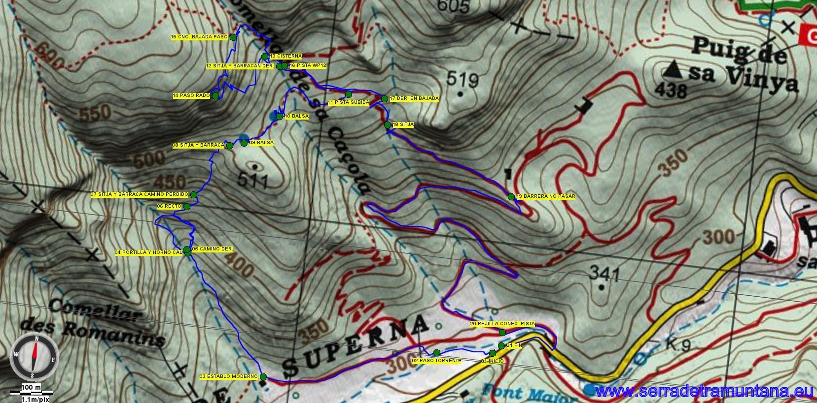 Recorte del mapa de Alpina Tramuntana Sud con la ruta realizada