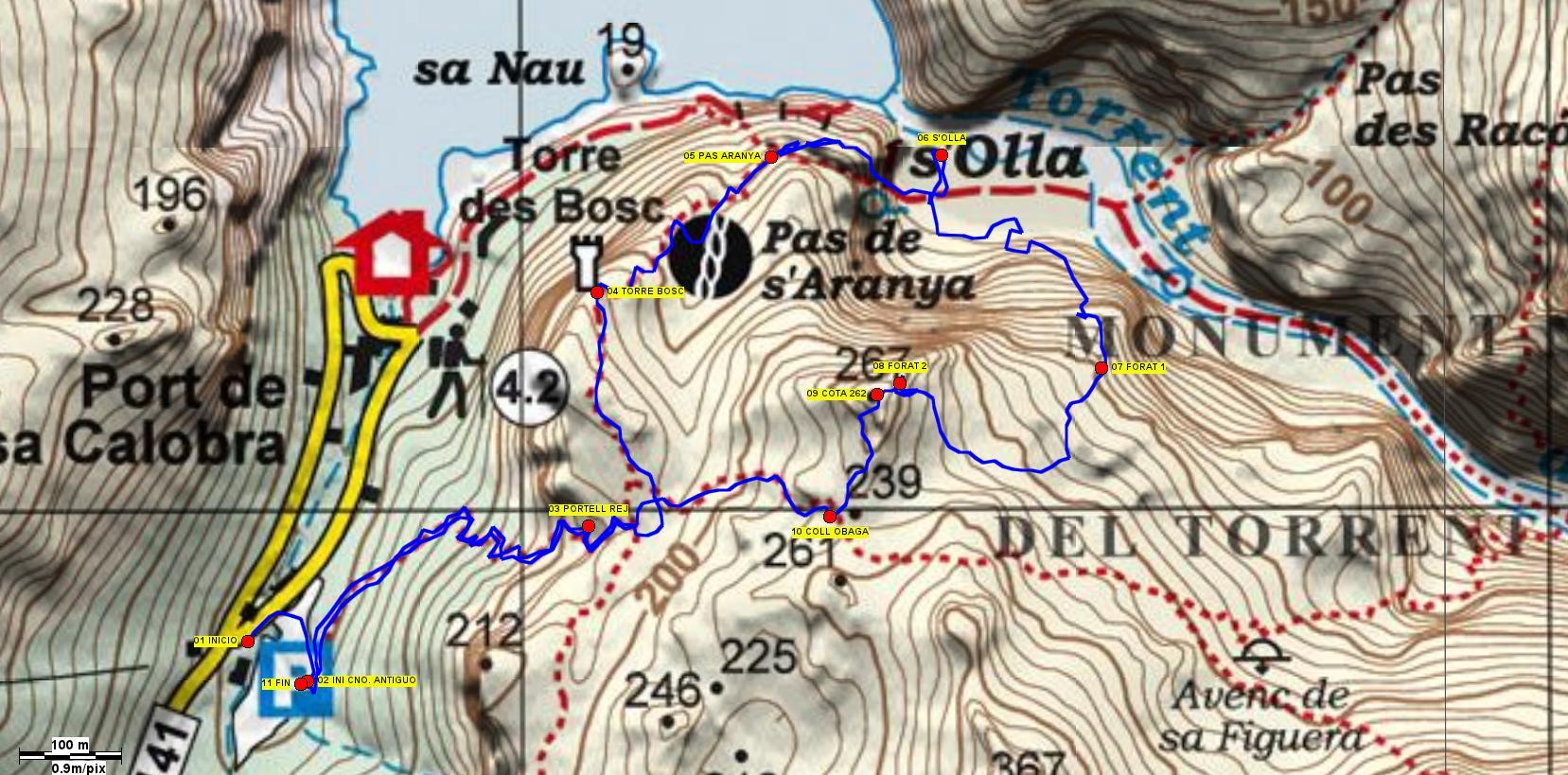 Recorte del mapa de Alpina de la zona con el trazado realizado
