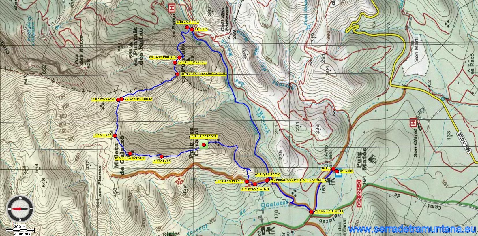 Recorte del mapa de Alpina de la zona, con la ruta realizada